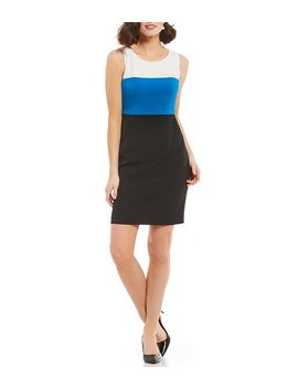 Kasper Petite Tri Tone Colorblock Dress by Kasper