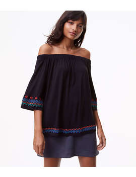 Border Embroidered Off The Shoulder Top by Loft