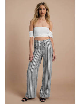Aspyn Grey Multi Wide Leg Stripe Pants by Tobi