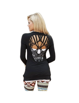 Nlife Womens Long Sleeve Back Cut Out Skull Cardigan Tops by Nlife