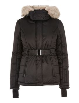 **Black Faux Fur Hooded Ski Jacket By Topshop Sno by Topshop