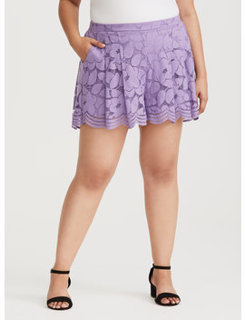 Purple Floral Lace Short by Torrid
