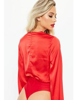 Red Satin Plunge Wrap Bodysuit by Missguided
