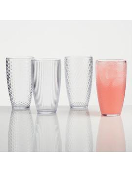 Large Clear Textured Acrylic Tumblers Set Of 4 by World Market