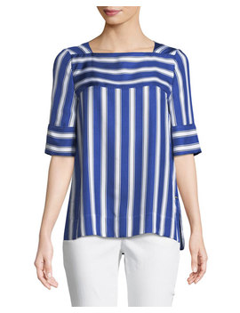 Short Sleeve Cabana Striped Silk Blouse by Escada