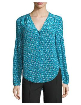 Roca V Neck Button Front Floral Print Silk Blouse by Veronica Beard