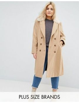 Brave Soul Plus Ashwich Double Breasted Coat With Faux Fur Collar by Asos Brand