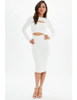 White Stretch Crepe Long Sleeve Midi Dress by Missguided