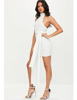 White High Neck Overlay Tie Waist Midi Dress by Missguided