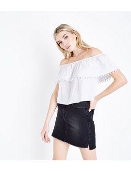 Off White Pom Pom Trim Bardot Top by New Look