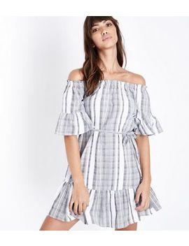 Grey Woven Stripe Tassel Belt Bardot Dress by New Look