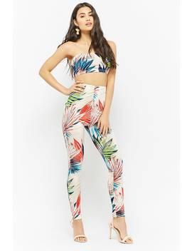 Palm Leaf Print Tube Top & Leggings Set by Forever 21