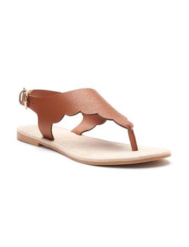 Lc Lauren Conrad Women's Scalloped Microsuede Slingback Thong Sandals by Kohl's