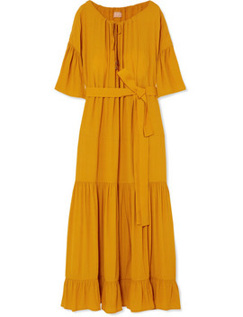 Lolita Belted Tiered Crepe Maxi Dress by Albus Lumen