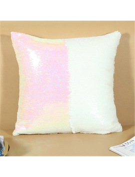 Diy Mermaid Bicolour Sequins Pillowcase Magical Throw Pillows Color Changing Reversible Pillow Cover 40cm*40cm Cushion Cover by Ws Phang Store