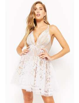 Plunging Mesh Tulle Floral Dress by Forever 21