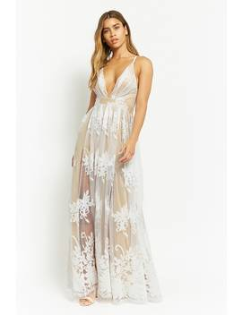 Flocked Mesh Maxi Dress by Forever 21
