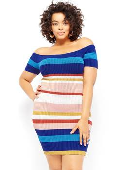 Plus Size Multi Striped Off The Shoulder Dress by Forever 21