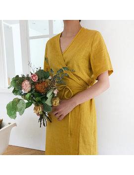 Linen Summer Wrap Dress   Kimono Linen Dress   Summer Linen Dress   Romantic Linen Wrap Dress   Plus Size Dress   Yellow Linen Dress by Etsy