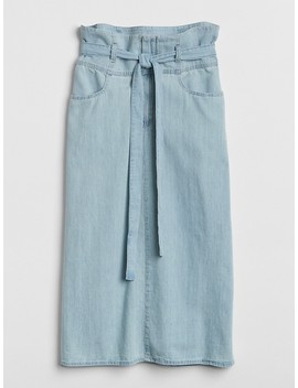Midi Paper Bag Waist Denim Skirt by Gap
