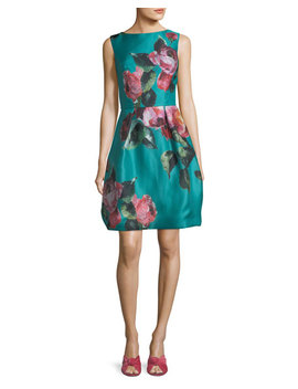 High Neck Sleeveless Floral Print Cocktail Dress by Monique Lhuillier