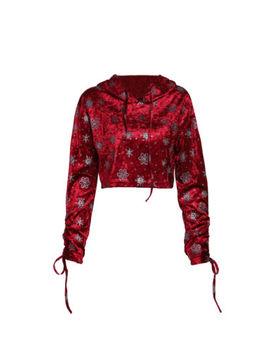 Us Women Velvet Hoodie Jumper Sweatshirt Casual Crop Top Pullover Christmas Tops by Unbranded
