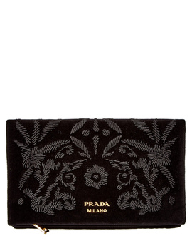 Prada Embroidered Velvet Flap Wallet by Prada