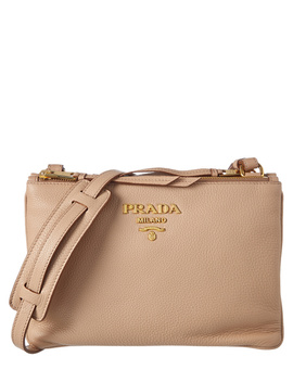 Prada Double Zip Leather Pouch Bag by Prada