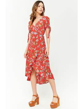 Floral Surplice Midi Dress by Forever 21