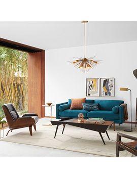 Paulo Bent Lounge Chair, Parc Leather, Black by West Elm