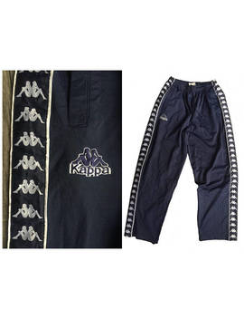 Authentic 90's Vintage Kappa Track Pants Side Taped Logo In Great Condition/ 90's Hip Hop Sweatpants/ Gangsta Streetwear by Etsy