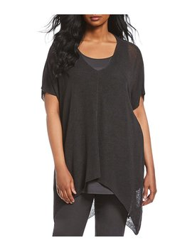 Eileen Fisher Plus Size V Neck Short Sleeve Poncho Top by Eileen Fisher