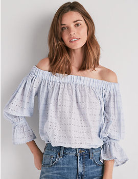 Eyelet Off Shoulder Top by Lucky Brand