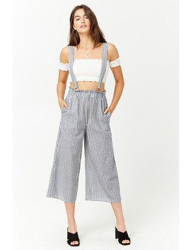 Striped Linen Blend Culotte Overalls by Forever 21