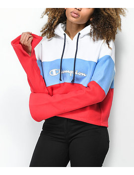 Champion Reverse Weave Red, White & Blue Crop Hoodie by Champion