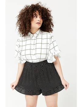 Plus Size Chiffon Grid Print Ruffle Trim Shirt by Forever 21