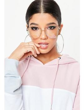 Gold Clear Frame Aviator Sunglasses by Missguided