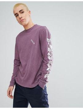 Obey Olde Rose Long Sleeve T Shirt In Dusty Purple by Obey