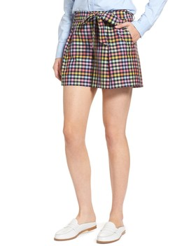 Pleated Plaid Bow Tie Shorts by 1901