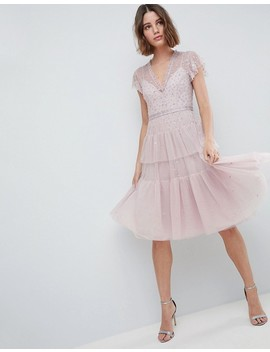 Needle & Thread Layered Midi Dress With Lace Detail by Needle & Thread