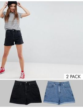 Asos Design Denim Mom Short In Washed Black And Mid Blue 2 Pack Save 14 Percents by Asos Collection