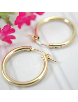 22mm 14k Gold Filled Hoop Earrings Medium Size .825 Inch Hollow Tube Hoop Earrings Lightweight Earrings Gold Hoops Round Lever Closure Clasp by Etsy