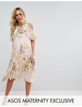 Asos Maternity Floral Cold Shoulder Frill Hem Dress by Asos Maternity