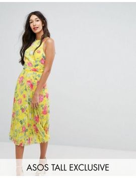 Asos Tall Bright Floral Pleated Midi Skater Dress by Asos Tall