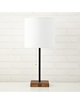 Urban Shop White Wooden Base Stick Lamp With Usb Port by Urban Shop