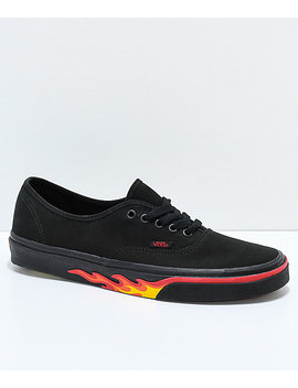Vans Authentic Flame Wall Black Skate Shoes by Vans