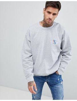 New Look Sweat With Brooklyn Print In Grey Marl by New Look