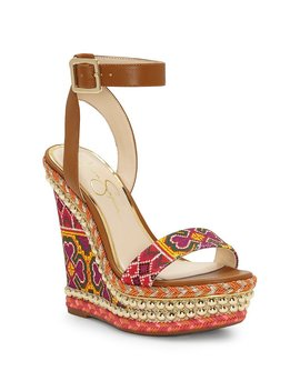 Alinda Print Braided Detail Ankle Strap Wedge Sandals by Jessica Simpson