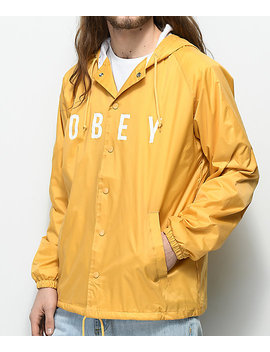 Obey Anyway Yellow Hooded Coaches Jacket by Obey