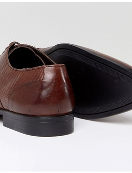 Asos Oxford Shoes In Brown Leather With Emboss Panel by Asos